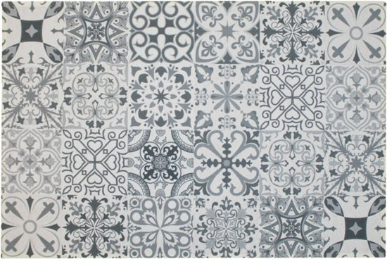 Populair bol.com | Binnenmat -Tegels Spaanse tegels grijs - Deurmat - @WI21