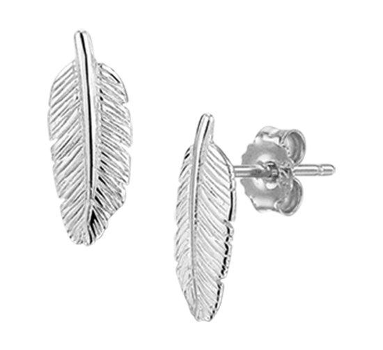 The Fashion Jewelry Collection Oorknoppen Veer - Zilver Gerhodineerd