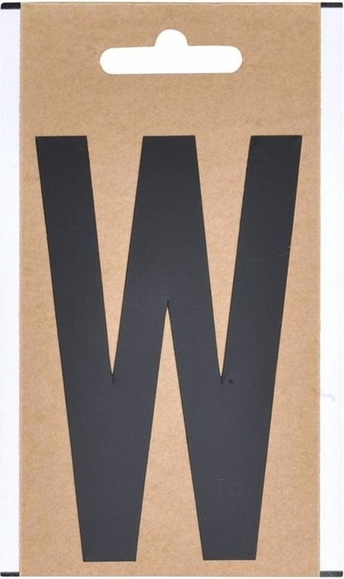Letter sticker W zwart 10 cm