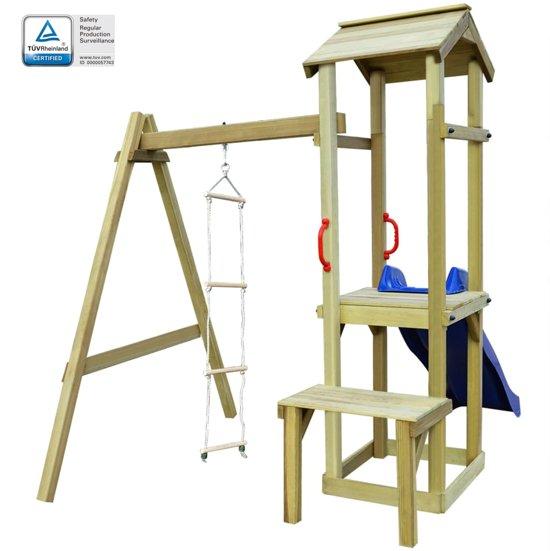 vidaXL Speelhuis met glijbaan en ladder 228x168x218 cm FSC hout
