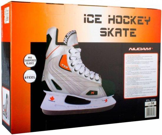 Nijdam 3382 Pro Line IJshockeyschaats - Schaatsen - Unisex - Volwassenen - Zwart/Zilver - Maat 40