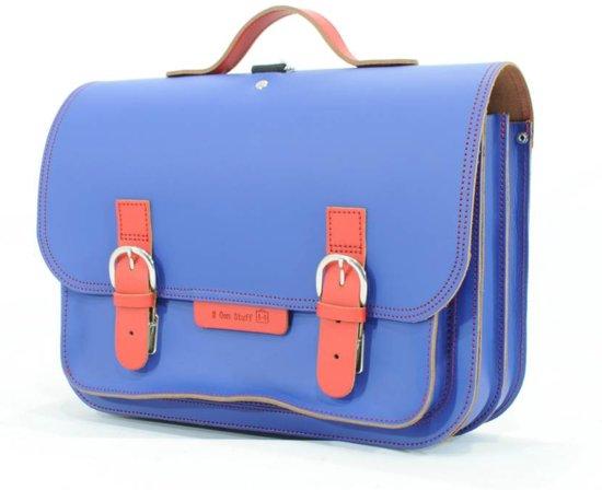 359fe1dc8a4 bol.com   Lederen boekentas / boekentas cobalt blauw met rood   Own ...