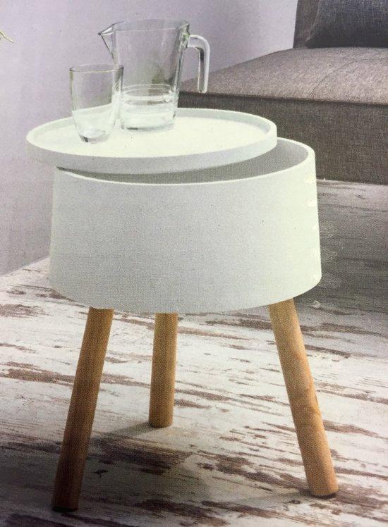 Bijzettafel Modern Design.Bol Com Bijzettafel Modern Design Rond En Wit Opbergvak En