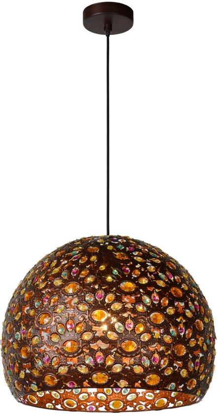 Lucide BYRSA - Hanglamp - Ø 40 cm - E27 - Roest bruin