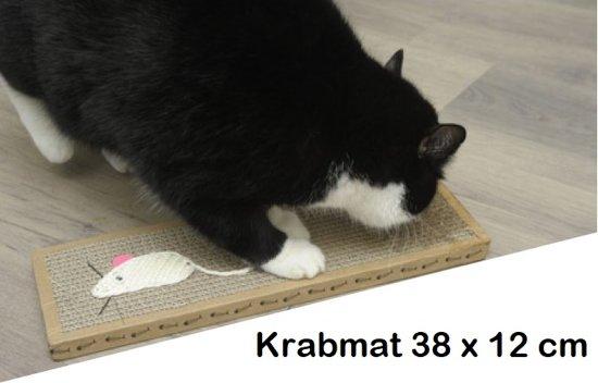 Krabmat 38 cm - Met muis van touw - Inclusief zakje kattenkruid - Kat - Poes