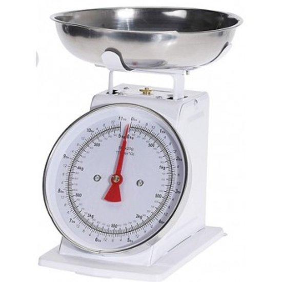 Keukenweegschaal - Retro Keuken weegschaal - Kitchen weegschaal - Mechanische weegschaal - 5kg - Wit