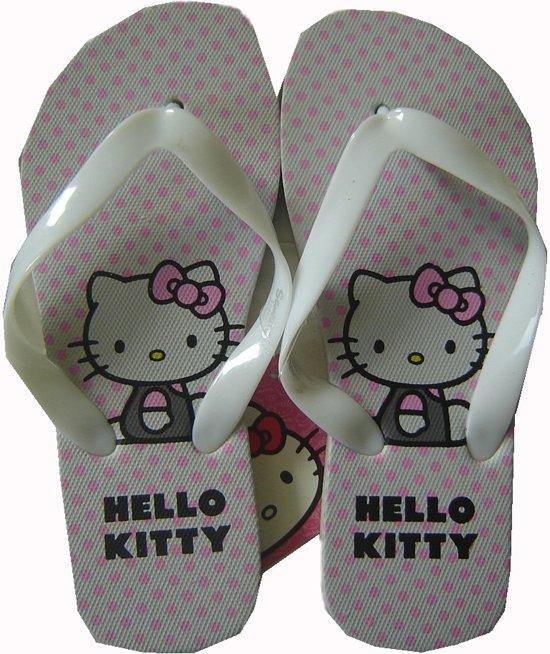 Witte teenslippers van Hello Kitty maat 31/32