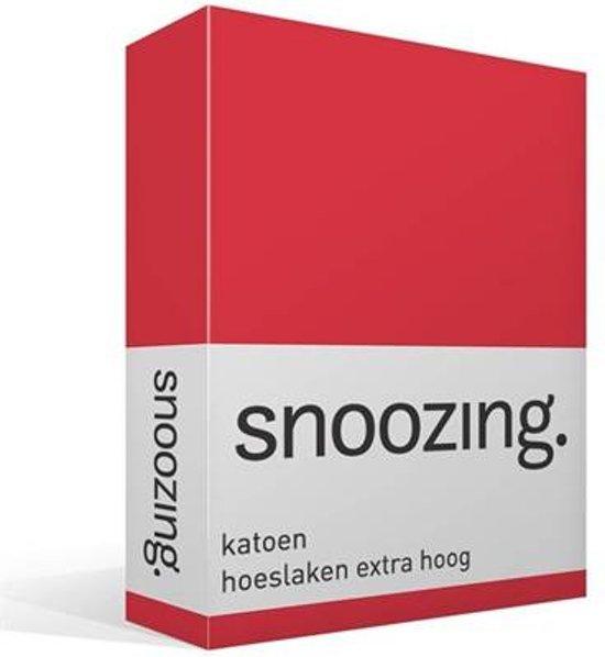 Snoozing - Katoen - Hoeslaken - Lits-jumeaux - 180x220 cm - Rood
