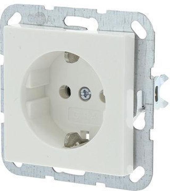 Gira SY55 Inbouw Stopcontact met Randaarde - 1-voudig - Polarwit