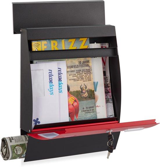 relaxdays brievenbus halfrond - met slot - naamplaathouder - wandbrievenbus - krantenrol zwart-rood