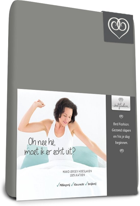 Bed-Fashion Mako Jersey hoeslakens de luxe 70 x 200 cm grijs