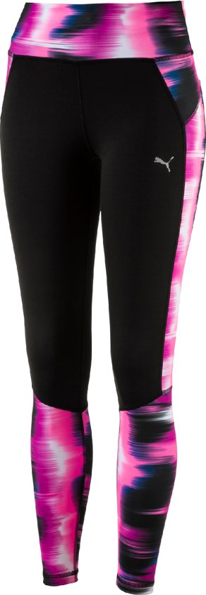 Puma Graphic Tight W - Hardloopbroek - Dames - Puma Black-Ultra Magenta Aop - Maat S