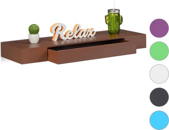 Wandplank Met Lade Zwart.Relaxdays Wandplank Met Lade Blinde Montage Modern Design Wandboard Wandelement Zwart