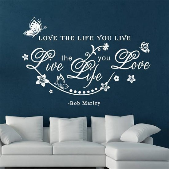 love the life muur tekst muursticker wit