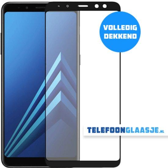 Glazen Screenprotector voor Samsung Galaxy A8 (2018) (FULL COVER) (ZWART) | Tempered glass | Gehard glas