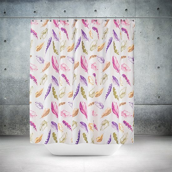 Roomture - douchegordijn - Colorful Feathers  - 120 x 200