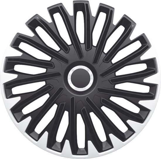 AutoStyle 4-Delige Wieldoppenset Quantum Pro 16-inch zilver/zwart + chroom ring