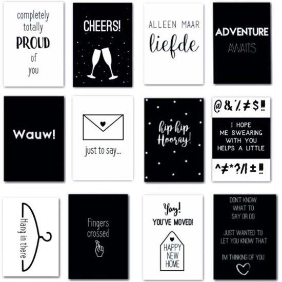 Wenskaart - Set van 12 zwart wit kaarten met quotes - Geschikt als verjaardagskaart - verhuiskaart - geboortekaart