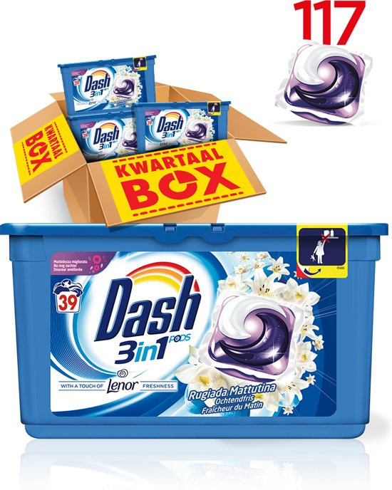 Dash 3in1 PODS Ochtendfris - Kwartaalbox 117 Wasbeurten - Wasmiddel Capsules