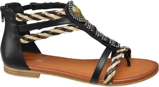 Graceland Dames Zwarte sandaal geweven bandjes - Maat 41