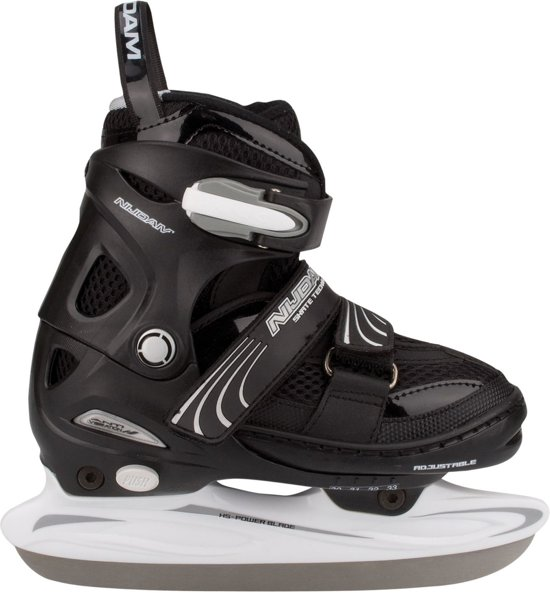 Nijdam 3150 Junior IJshockeyschaats - Verstelbaar - Semi-Softboot - Zwart/Wit - Maat 30-33