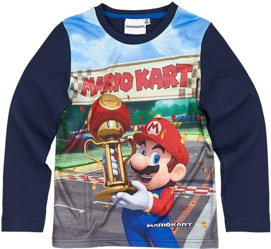 Super-Mario-Bros-T-shirt-met-lange-mouw-marineblauw-maat-134