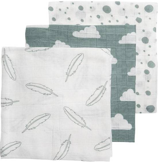 Meyco Feather-Clouds-Dots 3-pack hydrofiele luiers - 70 x 70 cm - Jade/wit