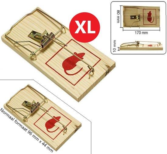 XL Traditionele Houten Muizenval Duo Pack Jumbo – 17x8cm | Ongedierte Bestrijding | Muizenval | Tegen Muizen | Anti Muizenplaag | Muis | Val | Kaas | Klap val | Klapvallen | Ook Geschikt voor Ratten