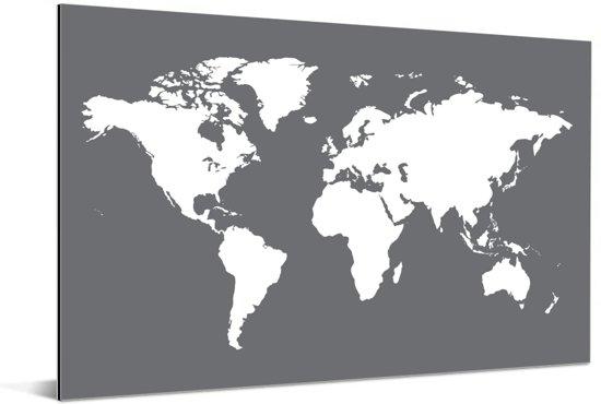 Witte wereldkaart met een donkergrijze achtergrond Aluminium 120x80 cm