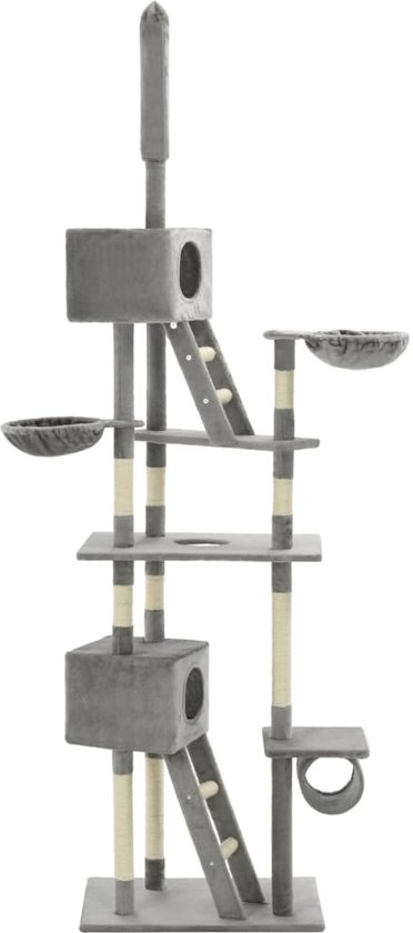vidaXL Kattenkrabpaal met sisal krabpalen 230-260 cm grijs