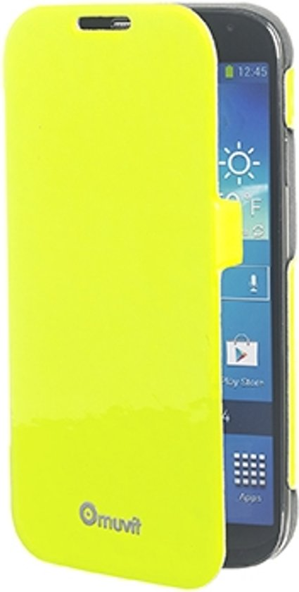 muvit Samsung Galaxy S4 Fluosh iFlip Folio Case Yellow