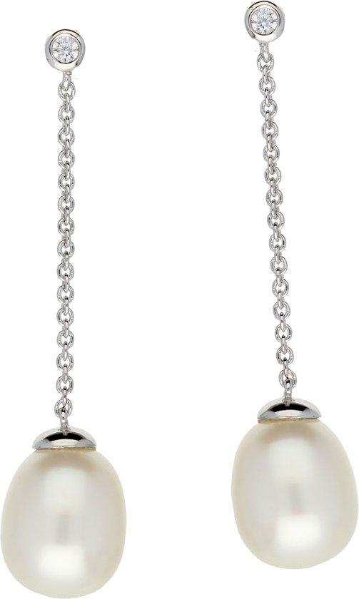 Classics&More pareloorhangers - zilver gerodineerd - ankerschakel - witte zoetwaterparel - 30 x 8 mm