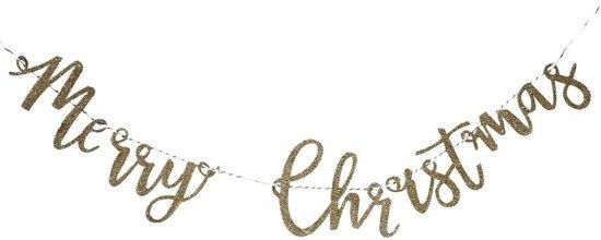 Ginger Ray Gold Christmas - 'Merry Christmas' kerst slinger - Goud glitter - 1 meter Valentinaa