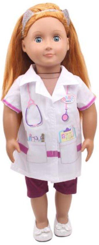 Dokter speelset voor pop met lengte 39 - 45 cm zoals Baby Born - Doktersjas, stethoscoop, spuit etc