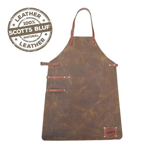 Scotts Bluf lederen schort - Cognac