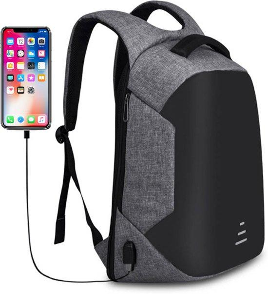 Anti-diefstal rugzak - laptop tas met USB aansluiting - Waterdicht - Grijs