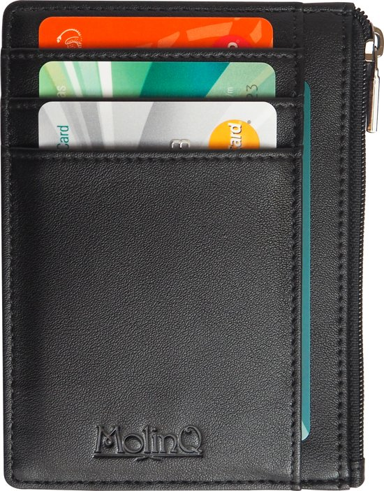 f2f05cccf60 Compacte RFID Portemonnee met Rits en ID-Venster - Anti Skim Pasjeshouder -  Zwart