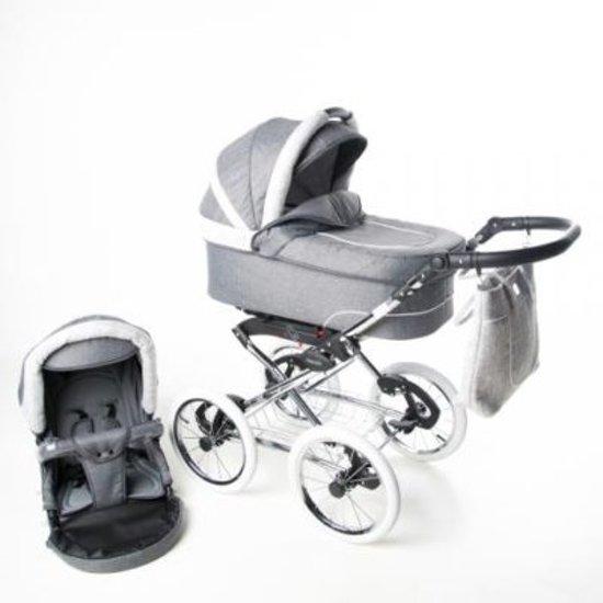P'tit Chou Prato Classic  Kinderwagen - Buggy - Retro Stof - Grijs  -