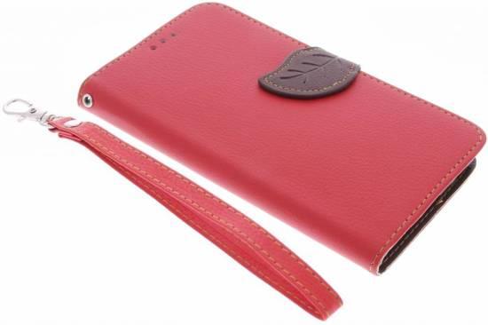 Conception Feuille Rouge Cas Booktype Tpu Pour Samsung Galaxy S4 mVKgu