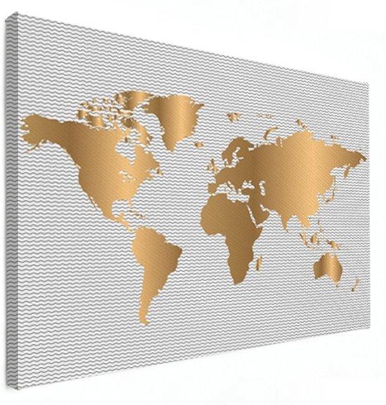Wereldkaart Goud Golven Canvas Muur decoratie 80x60 cm | Wereldkaart Canvas Schilderij