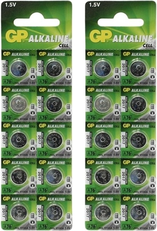 20 Stuks (2 Blisters a 10st) - GP LR44/76A/V13GA/A76 1.5v Alkaline knoopcel batterij