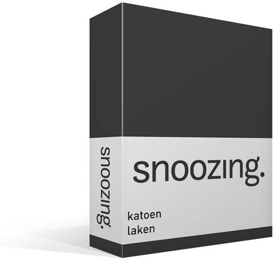 Snoozing - Laken - Katoen - Tweepersoons - 200x260 cm - Antraciet