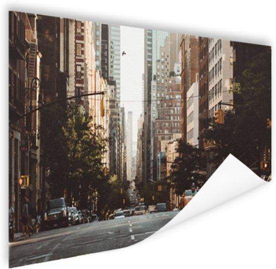 New York Rustige straat in de ochtend Poster 120x80 cm - Foto print op Poster (wanddecoratie woonkamer / slaapkamer) / Steden Poster