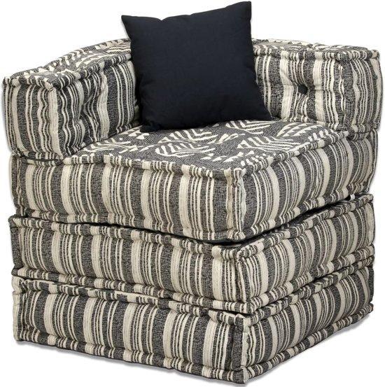 Tweezits slaapbank modulair stof strepen (incl. vloerviltjes)
