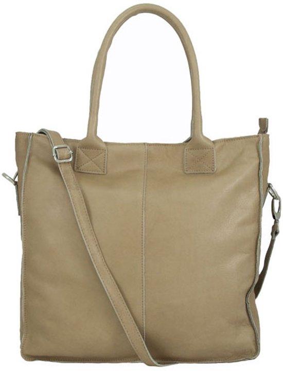 8015e6315a6 bol.com | Leren dames shopper schoudertas zand