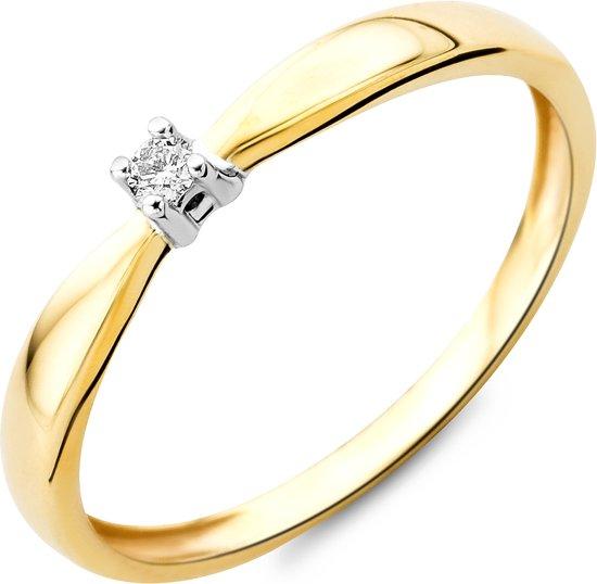 Majestine 9 Karaat Solitair Ring Geelgoudkleurig (375) Met Diamant 0.03ct Maat 56