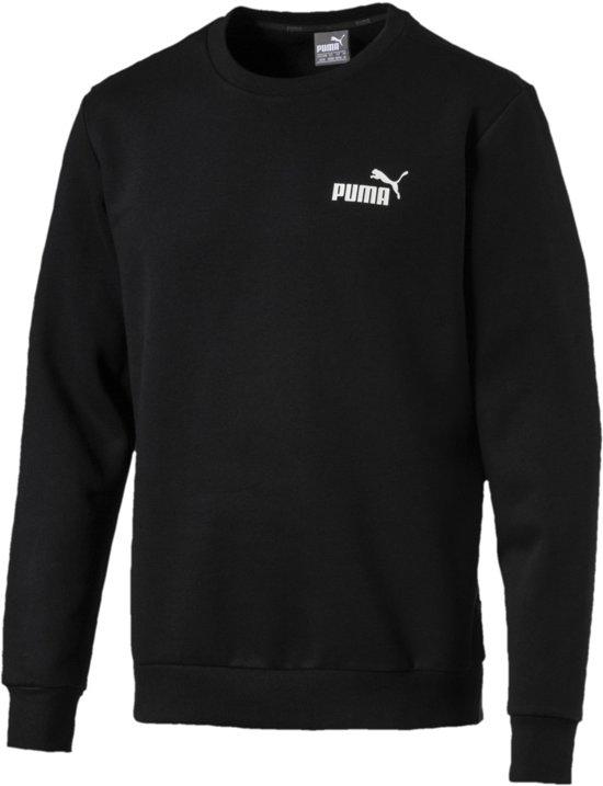 PUMA Ess Logo Crew Sweat Fl Trui Heren - PUMA Black - Maat M