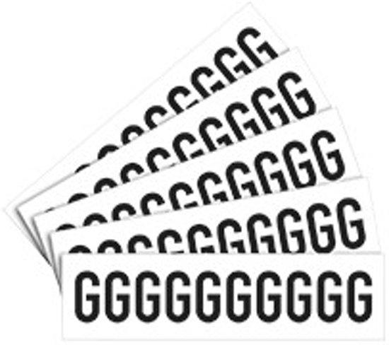 Letter stickers wit/zwart teksthoogte: 50 mm