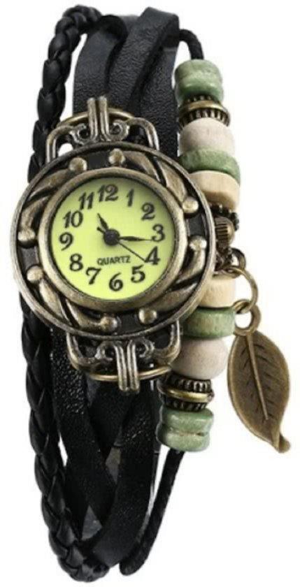 Vintage armband Horloge Zwart met blad hangertje (met gratis reserve batterij)