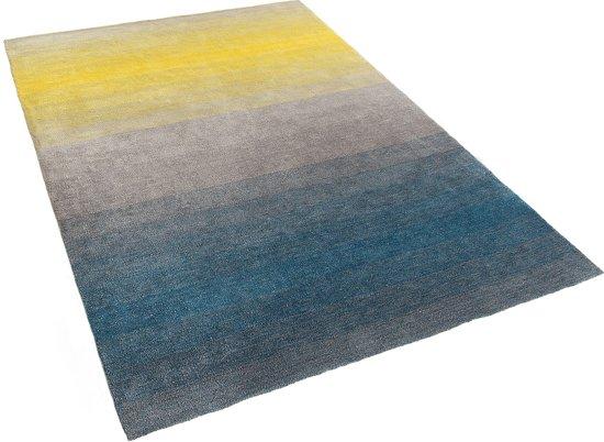 Vloerkleed Blauw Grijs : Bol tapijt grijs blauw geel cm shaggy polyester